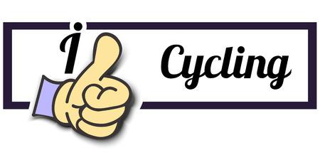 i like: Frame I Like Cycling Thumb Up! Vector graphic logo eps10.