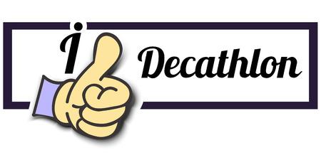 decathlon: Frame I Like Decathlon Thumb Up! Vector graphic logo eps10.