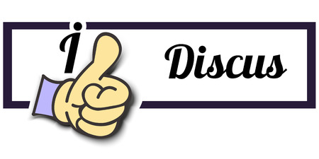 discus: Frame I Like Discus Thumb Up! Vector graphic logo eps10. Illustration