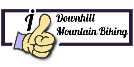 mountain biking: Frame I Like Downhill Mountain Biking Thumb Up! Vector graphic logo eps10.