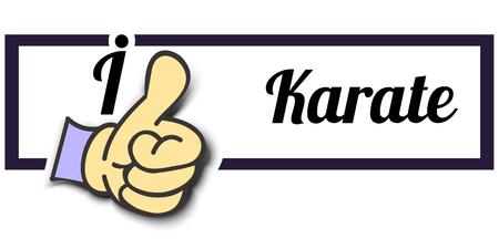 Frame I Like Karate Thumb Up! Vector graphic logo eps10.