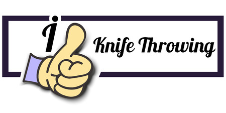 throwing knife: Frame I Like Knife Throwing Thumb Up! Vector graphic logo eps10.