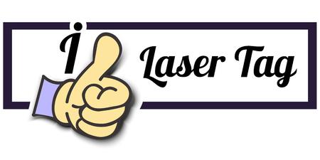 laser tag: Frame I Like Laser Tag Thumb Up! Vector graphic logo eps10.