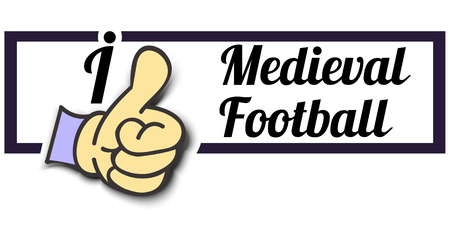 extreme sports: Frame I Like Medieval Football Thumb Up! Vector graphic logo eps10.