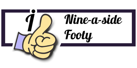 footy: Frame I Like Nine-a-side Footy Thumb Up! Vector graphic logo eps10.