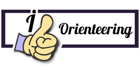 orienteering: Frame I Like Orienteering Thumb Up! Vector graphic logo eps10.