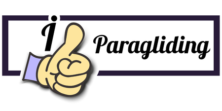 paragliding: Frame I Like Paragliding Thumb Up! Vector graphic logo eps10.