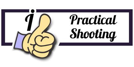 practical: Frame I Like Practical Shooting Thumb Up! Vector graphic logo eps10. Illustration