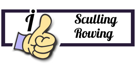 sculling: Frame I Like Sculling Rowing Thumb Up! Vector graphic logo eps10.