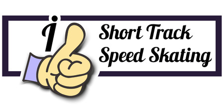 speed skating: Frame I Like Short Track Speed ??Skating Thumb Up! Vector graphic logo eps10.