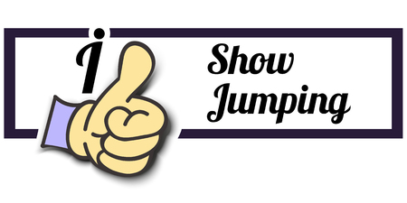 show jumping: Frame I Like Show Jumping Thumb Up! Vector graphic logo eps10.