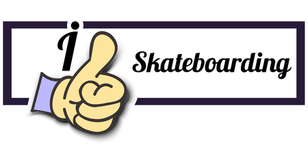 i like: Frame I Like Skateboarding Thumb Up! Vector graphic logo eps10.