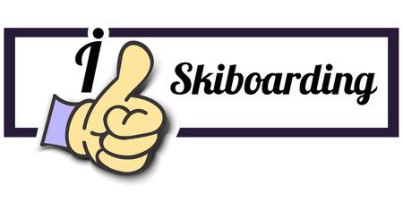 i like: Frame I Like Skiboarding Thumb Up! Vector graphic logo eps10.