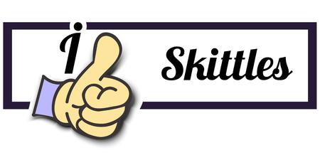 skittles: Frame I Like Skittles Thumb Up! Vector graphic logo eps10.