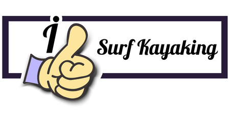 surf team: Frame I Like Surf Kayaking Thumb Up! Vector graphic logo eps10. Illustration