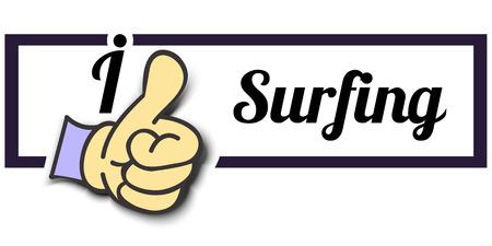 surf team: Frame I Like Surfing Thumb Up! Vector graphic logo eps10.