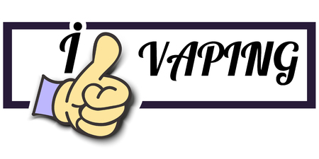 vaporizer: Frame I Like VAPING Thumb Up! Vector graphic logo eps10. Illustration