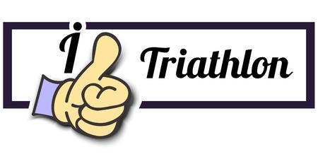 i like: Frame I Like Triathlon Thumb Up! Vector graphic logo eps10.