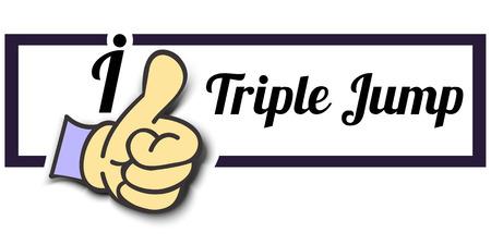 triple: Frame I Like Triple Jump Thumb Up! Vector graphic logo eps10.