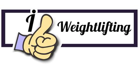 i like: Frame I Like Weightlifting Thumb Up! Vector graphic logo eps10. Illustration