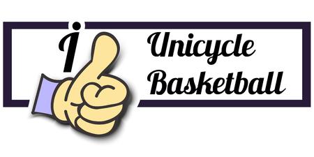 unicycle: Frame I Like Unicycle Basketball Thumb Up! Vector graphic logo eps10.