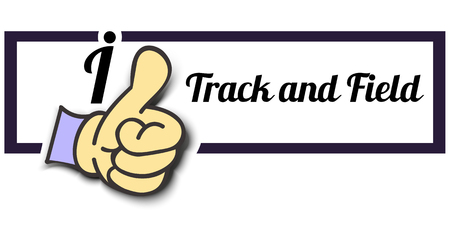 tracks live: Frame I Like Track and Field Thumb Up! Vector graphic logo eps10. Illustration