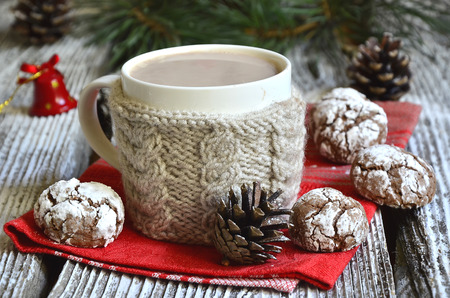 crinkles: Cookies Chocolate crinkles with cup of hot chocolate.