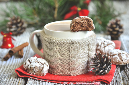 crinkles: Cookies \Chocolate crinkles\ with cup of hot chocolate. Stock Photo
