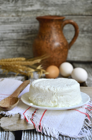 Cottage cheese on the rustic background. photo