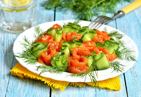 Homemade salted salmon with cucumber and dill on a white plate. photo