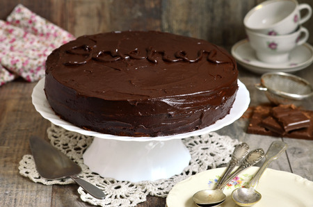 austrian: Chocolate cake Sacher,austrian cuisine. Stock Photo