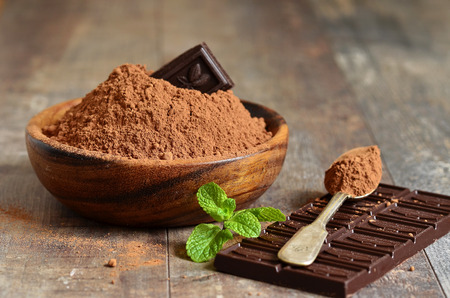 Cocoa powder in a wooden bowl.