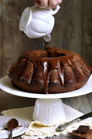 Chocolate banana cake with chocolate glaze.