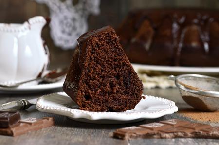 glaze: Chocolate banana cake with chocolate glaze.