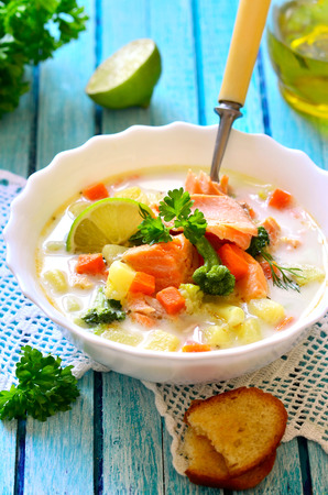 Chowder with trout and vegetable. photo