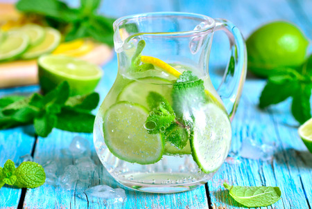 Summer lime and mint lemonade in a glass pitcher. photo