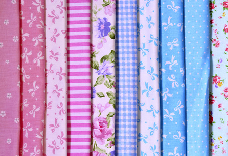 Samples of colored fabrics for patchwork.