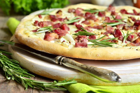 Tarte flambee,rustic french pie. photo