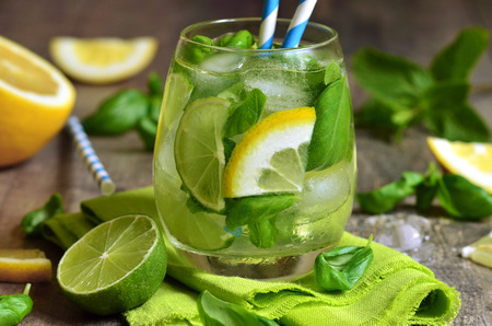 Basil lemonade - cold summer drink. photo