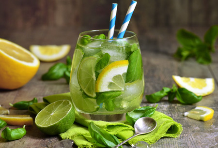 basil: Basil lemonade - cold summer drink.