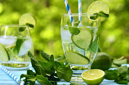 Summer lemonade mojito with lime and mint.