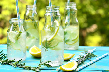 water on leaf: Citrus fizz with rosemary in a bottle. Stock Photo