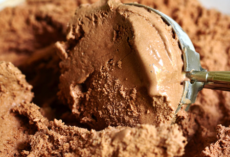 Chocolate ice cream scoop. Stock Photo