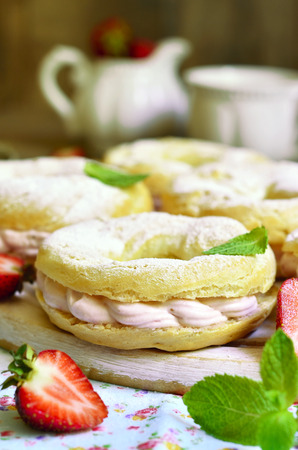 mascarpone: Choux pastry ring with filling from strawberry and mascarpone.