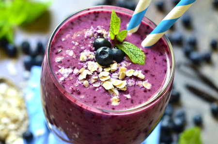 Banana smoothie with oats and honey-healthy breakfast.