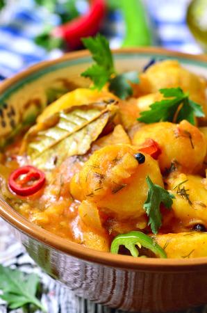 ragout: Young potato ragout in tomato sauce.