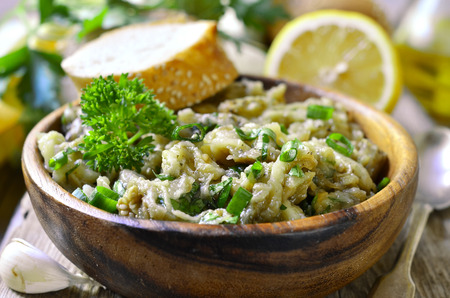 greek cuisine: Eggplant salad with olive oil,herb and garlic.Traditional greek cuisine.