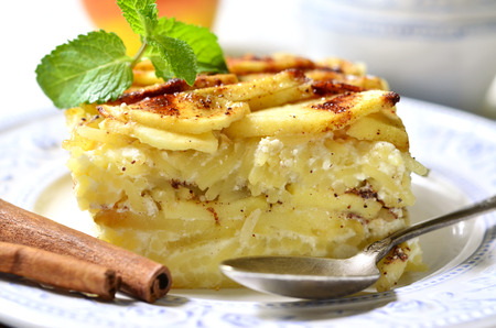 Lapshevnik - casserole with pasta (macaroni),curd and apple.Traditional russian cuisine. Stok Fotoğraf