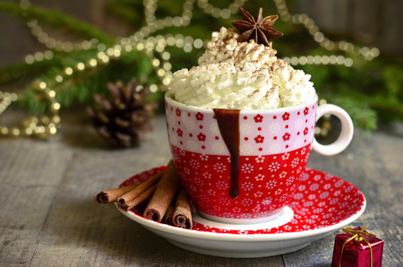 cioccolato natale: Spicy hot chocolate in a cup on christmas background.