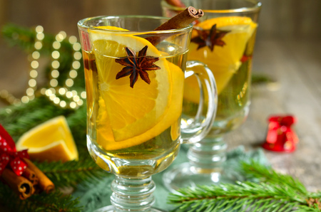 holiday of food: Orange tea with anise and cinnamon.